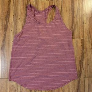 "Pink/white striped Lululemon ""Love"" Tank, size 10"